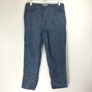 Talbots 8 Pants Crop Capri Blue Chambray
